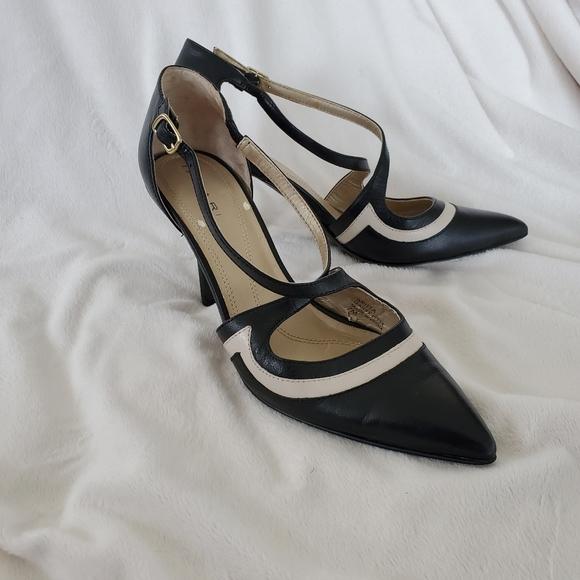 Tahari Shoes - Tahari Britta Black Leather Strappy Heels